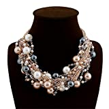 Elegant Faux Pearl Crystal Cluster Necklace, Gold Black Brown Deal (Small Image)