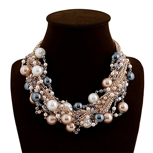 Elegant Gold Tone Faux Pearl Crystal Cluster Collar Chunky Bib Necklace - Crystal Faux Necklace