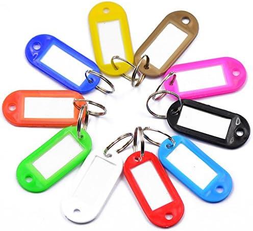 T TOOYFUL 10 stuks Travle Bag Charm Tag Label Split Sleutelhanger Sleutelring Sleutelring Gemengde kleur