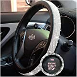 Cystal Steering Wheel Cover,with PU Leather Bling Bling Rhinestones,Black & Silver (Bling Cover)