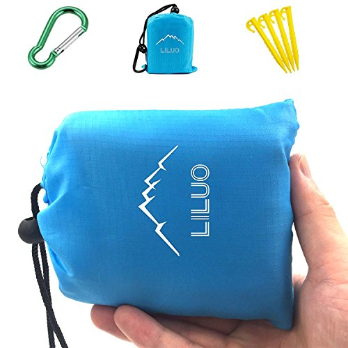 Pocket Picnic Blanket 55″ x 78″, LILUO Waterproof Outdoor Blanket Best for Beach, Travel, Hiking, Camping, Festivals - Durable, Sand Proof Towel with Corner Pockets, Loops, and Carabiner