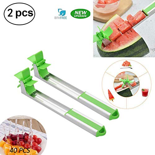 Finyosee 2019 New Type Windmill Watermelon Slicer Cutter Tools,Tongs Corer Fruit & Vegetable Melon Stainless Steel Gadgets-2PACK