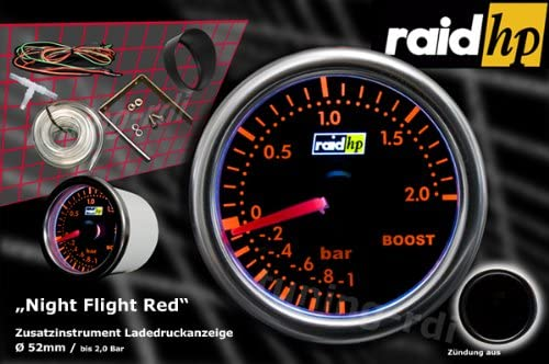 Raid HP Night Flight 660250 Turbo Boost Gauge Display Add-On Instrument//Red