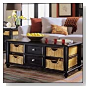 American Drew Camden Black Coffee Table with Wicker Baskets