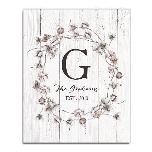 Cotton Monogram Paper Art Print   Personalized Home Decor   Wedding Gift    Housewarming Gift  