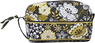 product image for Medium Cosmetic Case by Stephanie Dawn, Made in USA, Quilted Cotton Fabric, Lined Interior, Makeup Toiletry Bag (Savannah)