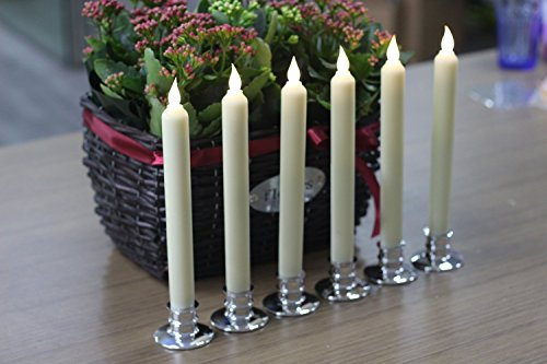 Flickering Flameless Candle Taper Candles Set Of 6 Ivory