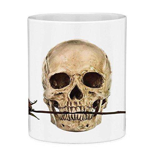 (Funny Coffee Mug with Quote Gothic Decor 11 Ounces Funny Coffee Mug Skull with Dry Red Rose in Teeth Anatomy Death Eye Socket Jawbone Halloween Art)