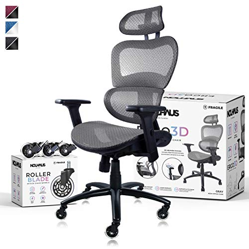 NOUHAUS Ergo3D Ergonomic Office Chair – Rolling Desk Chair with 4D Adjustable Armrest, 3D Lumbar Support and Extra Blade Wheels – Mesh Computer Chair, Gaming Chairs, Executive Swivel Chair (Gray)