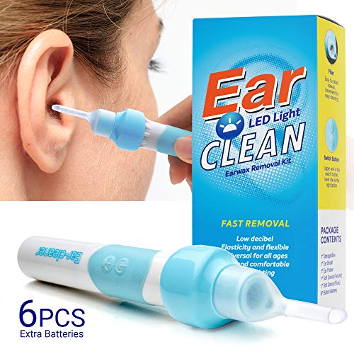 Ear Wax Removal Kit, Ear Cleaner, Electric Earwax Removal Tools for Adults and Kids Vacuum Ear Cleaners Soft Silicone Automatic Earwax Removal Kits with LED Light Powerful Suction for Easy Cleaning (Best Way To Unclog Your Ears)