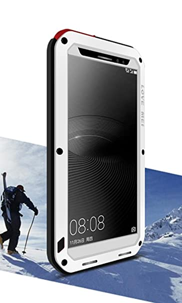 the best attitude 640ee cfb3a Aluminum Case for HUAWEI Mate 8, LOVE MEI Brand Waterproof Cover,  Shockproof Silicone Hybrid Metal with Gorilla Glass Screen Protector White  ...