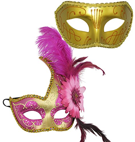 Thmyo Venetian Masquerade Masks Halloween Costume With Feather Flowers 2 Pack (Pink & (Pink Venetian Masquerade Mask With Feathers)