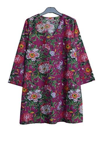 Ayurvastram KRITIfloral Hand Block Printed Cotton V Neck Tunic: Floral Print Magenta M