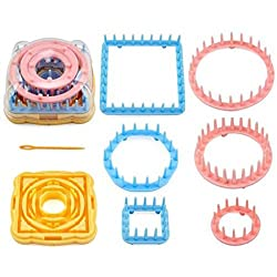 Knitting Loom Kit - 9 Piece Knitting Loom Flower Daisy Pattern Maker Wool Yarn Needle Knit Hobby Loom Knitting Machine Sewing Tools - Circular Knitting Loom - Loom Knitting Patterns