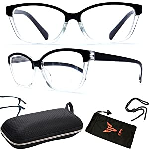 (#RG777-2.25) 1 Pairs Spring Hinged Transparent Smoke Faded Designer Square Frame Trendy Readers Reading Glasses + Hard Case + Arm Support + Neck Stringer