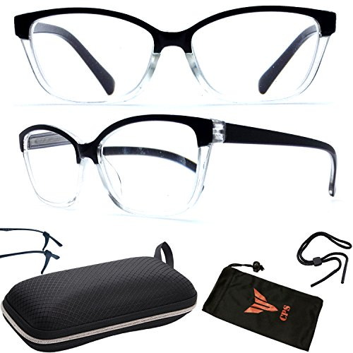 - Classic Reader Transparent Smoke Faded Square Frame Trendy Reading Glasses