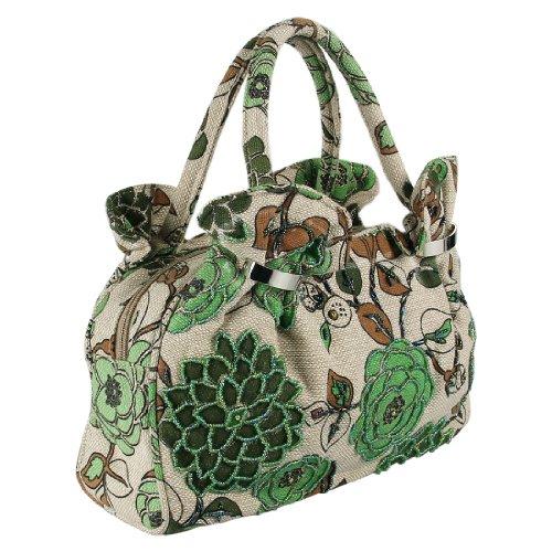 Ecosusi Women Vintage Handmade Classic Seed Beaded Linen Evening Bag Top Handle Hand Bag Purse (Green)