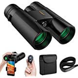Binoculars for Adults, 12x42 Compact HD Professional Binoculars Telescopes with Cell Phone Photography Adapter and Wireless Camera Shutter Remote Control for Bird Watching Hunting Camping Travelling