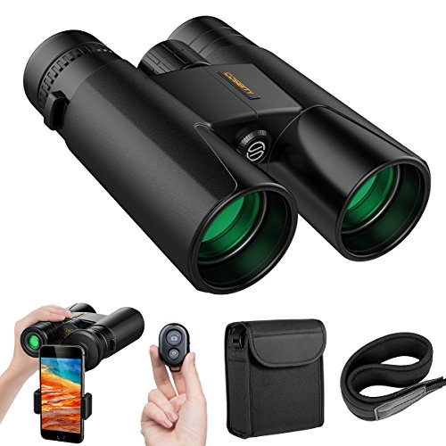 Binoculars for Adults, 12x42 Compact HD Professional Binoculars Telescopes with Cell Phone Photography Adapter and Wireless Camera Shutter Remote Control for Bird Watching Hunting Camping (Lg Film Camera)