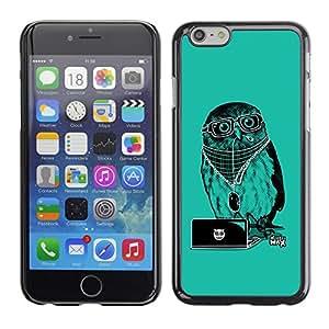 TECHCASE**Cubierta de la caja de protección la piel dura para el ** Apple iPhone 6 ** Cool Party DJ Owl