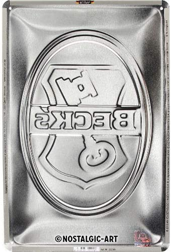 Key Logo in metallo Nostalgic-Art Targa Vintage Becks 20 x 30 cm Idea regalo per gli amanti della birra Design retro per decorazione