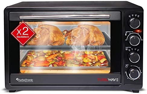 TurboTronic Mini Oven with Double Glazed Electric BBQ Oven Pizza Oven with Timer Function 45Liter