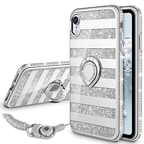 VEGO Case Compatible with Apple iPhone XR 6.1 inches, iPhone XR Glitter Case Bling Sparkly Fashion Diamond Rhinestone with Kickstand Ring Grip Holder for Girls Women for iPhone XR (Stripe Silver)