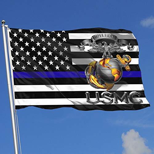 Thin Blue Line USMC Semper Fidelis Patriotic Flag 3x5-Flags 90x150CM-Banner 3'x5' FT