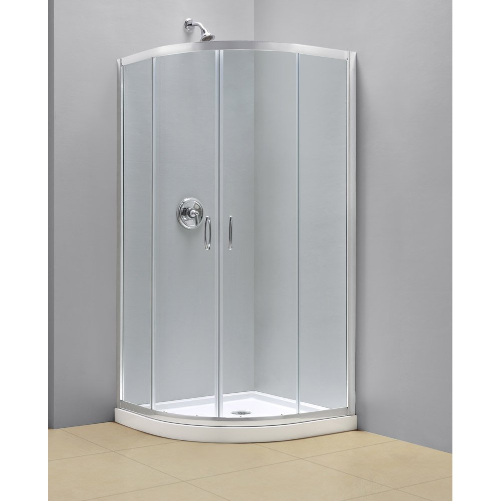 DreamLine DL-6702-01CL Prime Frameless Sliding Shower Enclosure and SlimLine 36 x 36 Quarter Round Shower Floor