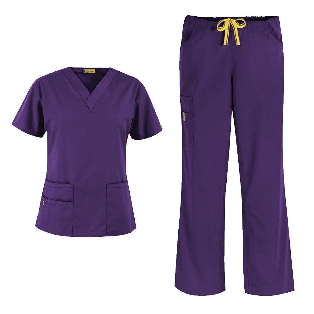 WonderWink Origins Women's 6016 Bravo Top & Romeo Pant 5026 Medical Uniform Scrub Set (Eggplant - Small)