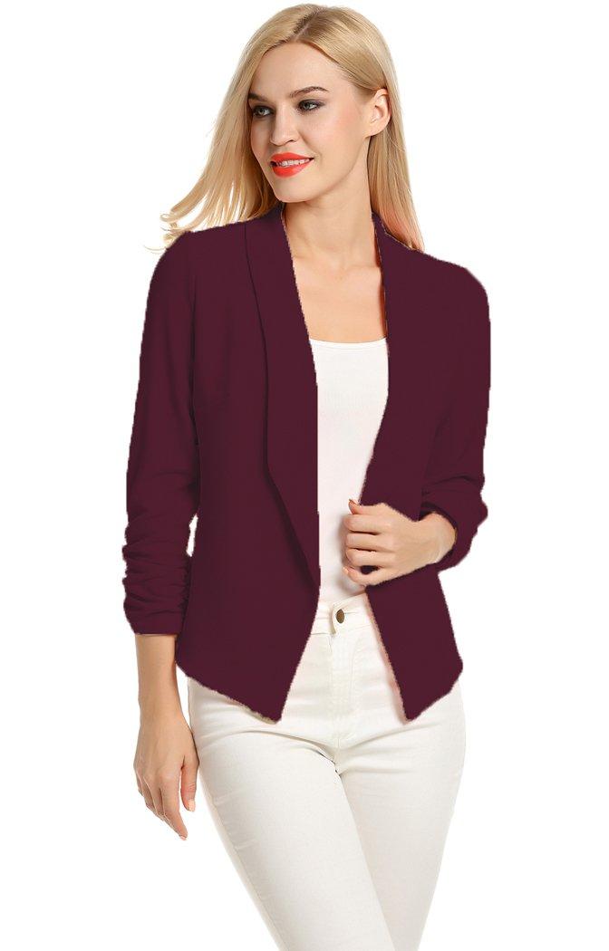 POGT Women 3/4 Sleeve Blazer Open Front Cardigan Jacket Work Office Blazer (L, Wine Red)