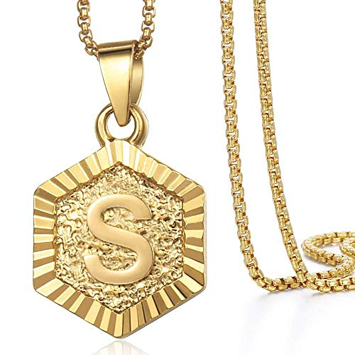 Hermah Gold Plated Charm Pendant Box Link Necklace Initital Capital Letter S Mens Womens Pendant Hexagon Charm 22inch