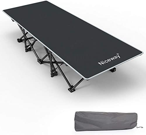Niceway Oxford Portable Folding Bed Camping Cot with Storage Bag,Weight Capacity to 300lbs, Strong Stable Collapsible Folding Camping Cot Great for Camping, Traveling and Home Lounging