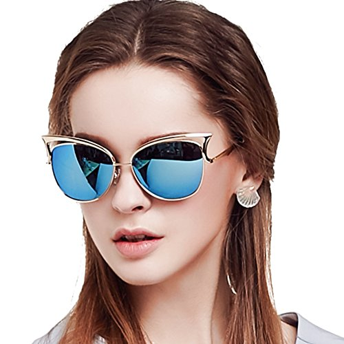 Women Sunglasses, Vintage Cateye Sunglasses for Women Polarized Mirror Designer by BLUEKIKI YEUX (Ice ()