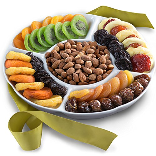 Golden State Fruit Ceramic Serving Tray Gift With Dried Fruit And Nuts