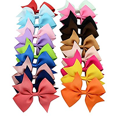 20pcs/lot Mutilcolor 4 inch Grosgrain Ribbon Hair Bows Girl Boutique Bow Baby Childs Handmade Diy Hairbows with Clip Kids Hair Accessories