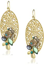 "RAIN ""Lace Cut Out"" Gold Oval Shape with Multi-Colored Beads Earrings"