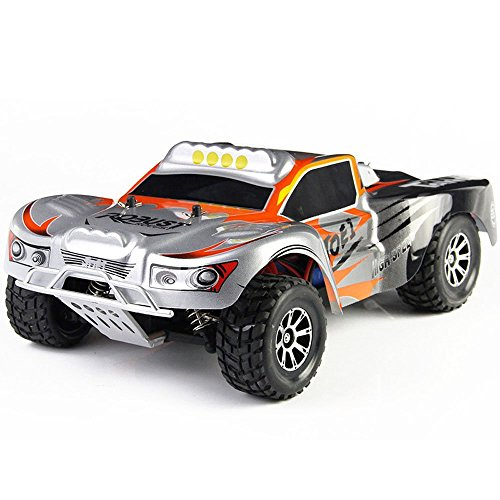 4wd Nitro Rc Car (Skytoy 4WD RC Trucks Waterproof Electric Short Course High Speed Racing Truck, Ready-To-Race (1/16 Scale) Red)