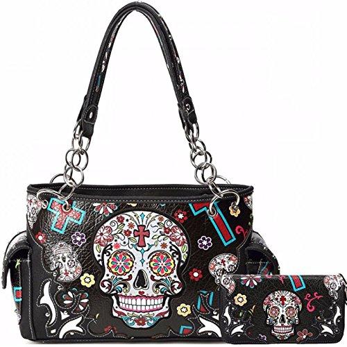 Cowgirl Trendy Western Concealed Carry Cross Sugar Skull Art Purse Handbag Shoulder Bag Wallet Set Black