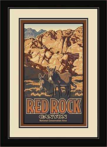 Northwest Art Mall PB-4671 MFGDM RRD Red Rock Canyon Donkeys Framed Wall Art by Artist Paul Leighton, 13 x 16