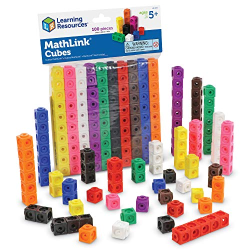 Learning Resources MathLink Cubes, Homeschool, Educational Counting Toy, Math Blocks, Linking Cubes, Early Math Skills, Math Cubes Manipulatives, Set of 100 Cubes, Ages 5+