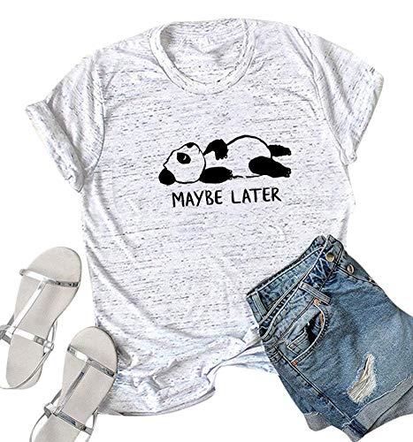 Women Plus Size Short Sleeve Animal Panda Tops Funny Cute Junior Teen T Shirt Marble White M