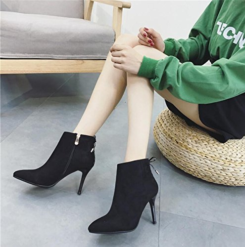 Boots New Fine Tie Sweet High Heeled KHSKX Bow Winter Of With Tip Satin Black 39 8Cm Combination Zipper Boot Ladies A With Fine wx7EqII0z