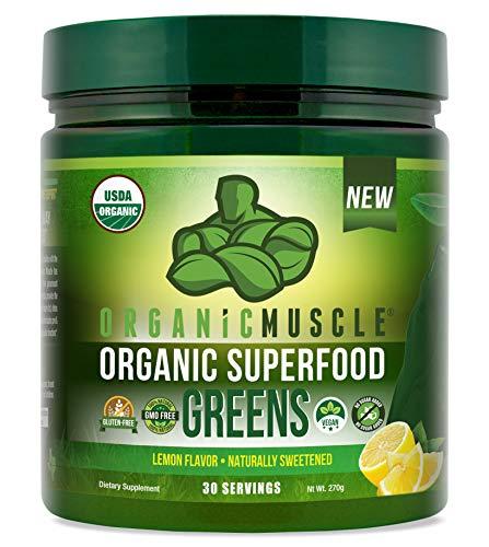 Certified Organic Superfood Greens Powder | Vegan Greens Juice Supplement for Energy, Detox, Immune Support, Focus & Digestion w/Prebiotic & Probiotic Blend | Lemon Flavor | 30 Serv | ORGANIC MUSCLE