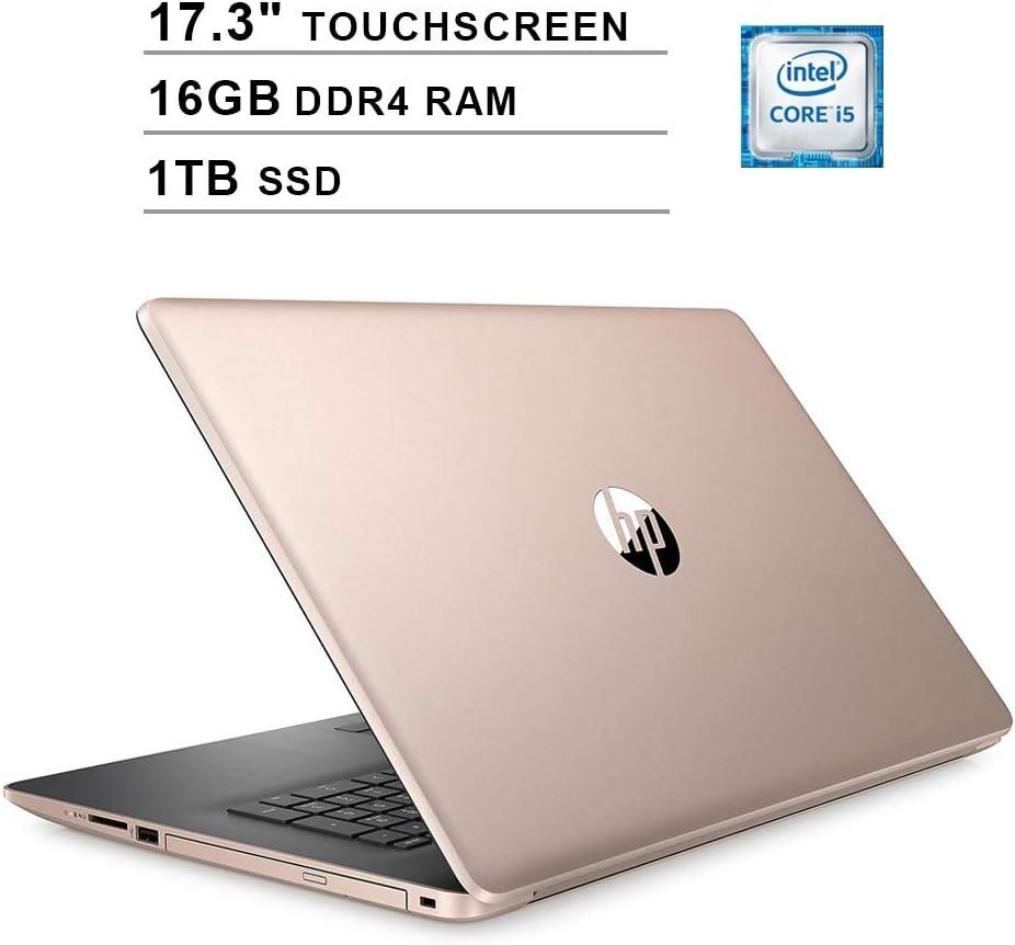 2020 Newest HP Pavilion 17.3 Inch Touchscreen Laptop (Intel 4-Core i5-8265U up to 3.9GHz, 16GB DDR4 RAM, 1TB SSD, Intel UHD 620, WiFi, Bluetooth, HDMI, Webcam, DVD, Windows 10 Home) (Gold)