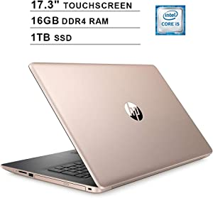 2020 Newest HP Pavilion 17.3 Inch Touchscreen Laptop (Intel 4-Core i5-8265U up to 3.9GHz, 16GB DDR4 RAM, 1TB SSD, Intel UHD 620, WiFi, Bluetooth, HDMI, Webcam, DVD, Windows 10 Home) (Gold)