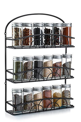 Francois et Mimi Mountable 3 Tier Iron Spice Rack and Holder Black (Large Image)