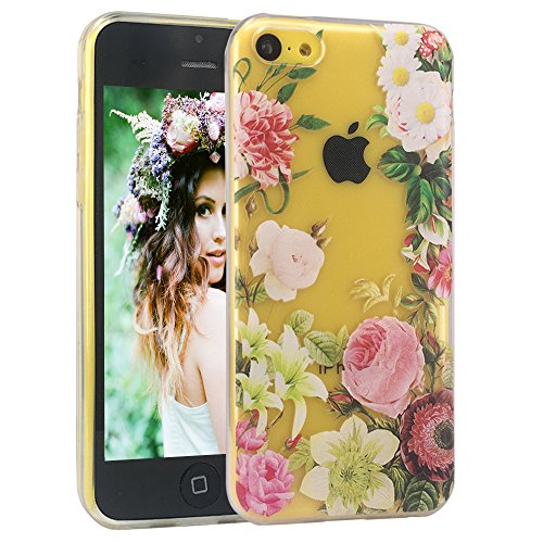 HKW iPhone 5C Case,Vintage Floral Slim Shockproof Clear TPU for Women Girls Flexible Soft TPU Protective Phone Case Cover for iPhone 5C -Flowers MA2007
