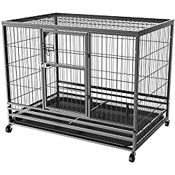 Yaheetech 43L x 28.3W x 35H Inches Collapsible Rolling Dog Crate Metal Large Dog Cage Kennel Feeding Door w/Tray Black