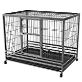 Cheap Yaheetech 43L x 28.3W x 35H Inches Collapsible Rolling Dog Crate Metal Large Dog Cage Kennel Feeding Door w/Tray Black